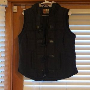 Black puffer vest with insulated hood